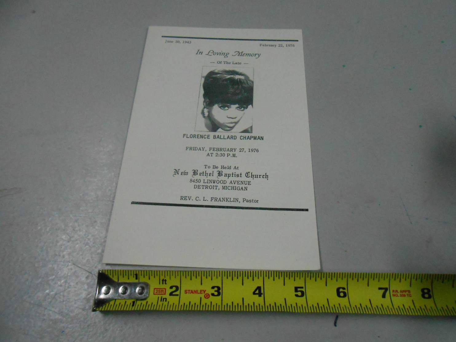 Name:  Florence Ballard Funeral program 1.jpg